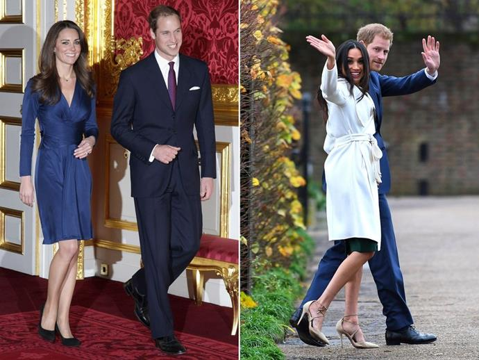 **The outfits**<br><br>  In part due to the setting, Meghan's ensemble was significantly more casual than Kate's, who opted for a silk, navy cocktail dress by Issa. In contrast, Markle chose a simple white wrap coat by Canadian brand, Line, The Label, an ensemble that had more of a relaxed, daytime feel. While we still don't know what the dress underneath looked like - but we will probably find out this evening - it looked like a forest green frock that finished just below the knee and seemed a little more workwear than formal.