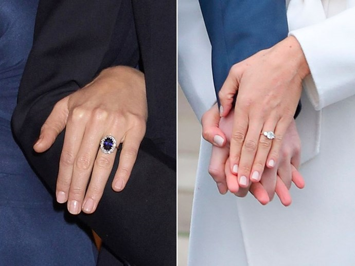 **The ring**<br><br>  While they are both absolutely beautiful, the two engagement rings worn by Kate and Meghan are very different. Everyone knows, of course, that Prince William gave his fiancé the engagement ring worn by his late mother, Princess Diana. It features 14 solitaire diamonds, which surround a large sapphire stone set in white gold.  Meghan's ring also features stones from Diana's jewellery collection, but was not an heirloom and was instead designed by Harry himself. It was made by Cleave and Company Court Jewellery and Medalists to the Queen, and sees two of Diana's personal diamonds sat alongside a diamond from Botswana, a country that holds a special place in the couple's hearts.