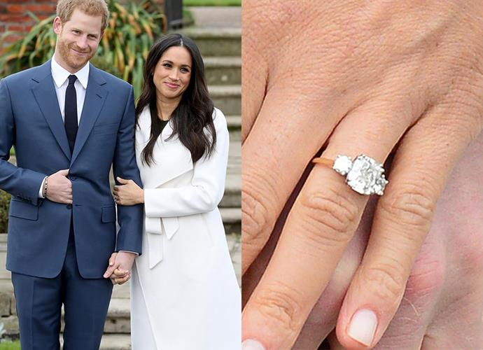 "**Miss Meghan Markle**<br><br> For her long-awaited engagement to Prince Harry, Meghan received a re-set ring. The centre diamond—a cushion-cut diamond said to be around 5 carats—came from Botswana, a country close to the hearts of both Prince Harry and Meghan, whilst the side stones were taken from the personal vault of Diana, Princess of Wales. The three stones were set in yellow gold, ""because that's her favourite"". <br><br> The Prince said of designing the ring, ""The main stone itself I sourced from Botswana. The little diamonds on the side are from my mother's jewellery collection to make sure she's with us on this crazy journey together."""