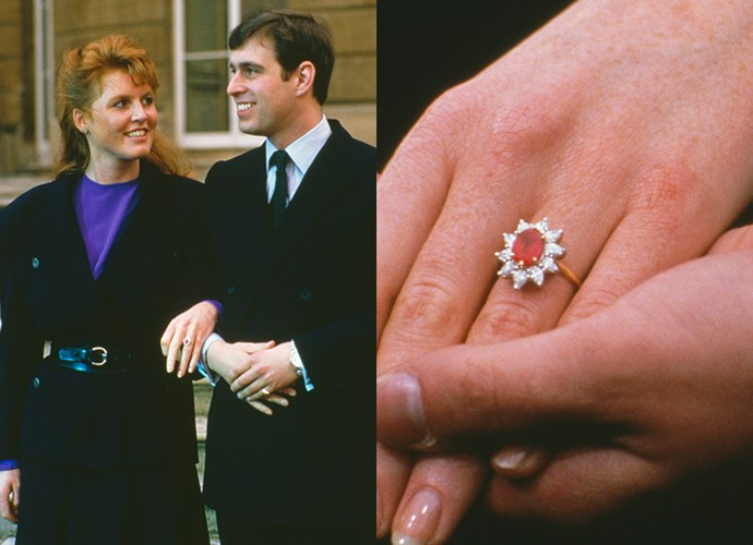 **Miss Sarah Ferguson**<br><br> Although Prince Andrew had already reportedly acquired an emerald ring for his bride-to-be, Sarah Ferguson was intent on receiving a ruby. Ferguson picked out this oval Burmese ruby surrounded by 10 pointed diamonds from Gerrard.