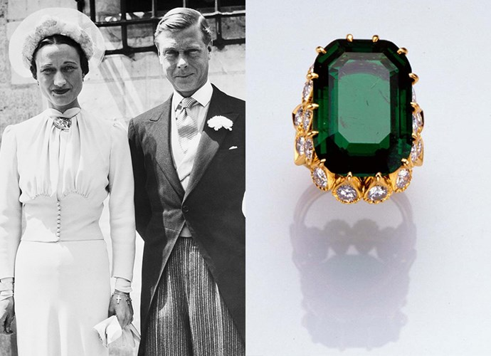 "**Mrs Wallis Simpson**<br><br> The controversial Duchess of Windsor, whose husband the Duke of Windsor abdicated his throne to marry her, had an equally as controversial ring. The Duchess wore a massive 20-carat Colombian emerald by Cartier in a diamond-leaf setting. The ring was inscribed, ""We are ours now 27.X.36""."