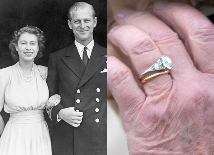 **Princess Elizabeth**<br><br> The then-Princess Elizabeth, who would be coronated as Queen Elizabeth just a few years later, broke a running tradition of receiving coloured-stone rings with her engagement ring. Prince Philip gave Elizabeth the three-carat diamond, flanked by five smaller diamonds on each side, which he designed himself. The stones were taken from a tiara that belonged to the Prince's mother, Princess Alice.