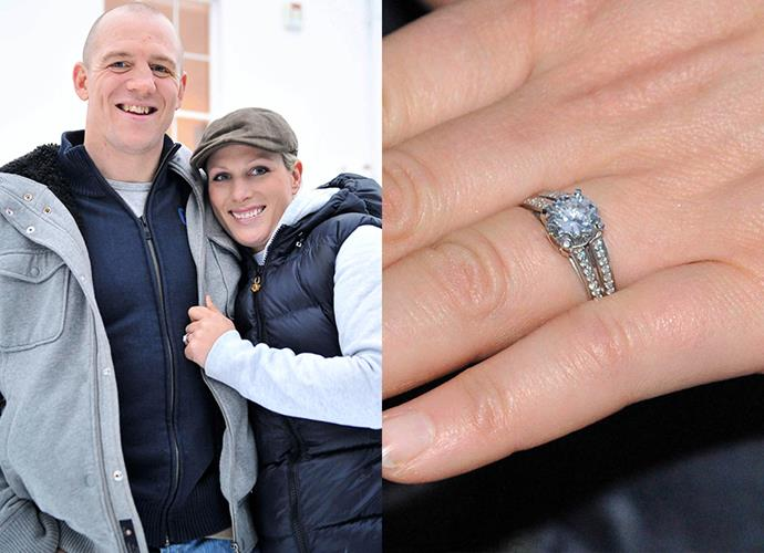 **Miss Zara Phillips**<br><br> Princess Anne's daughter, Zara Tindall (née Phillips), has a custom-designed solitaire diamond and platinum ring from Mike Tindall.