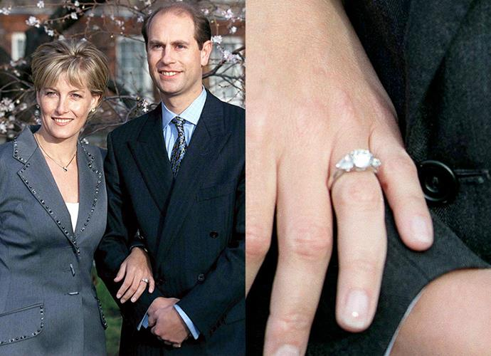 "**Miss Sophie Rhys-Jones**<br><br> Sophie Rhys-Jones, later the Countess of Wessex, wears a ""two-carat oval diamond flanked by two heart-shaped gemstones set in 18-carat white gold"". The ring was made by the then-royal jewellery Gerrard."