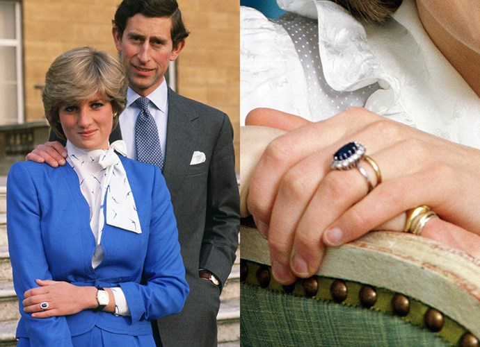**Lady Diana Spencer**<br><br> Perhaps the most-famous royal engagement ring ever, Lady Diana Spencer picked her 12-carat Ceylon sapphire, which was surrounded by 14 solitaire diamonds and set in yellow gold, out of a Gerrard's catalogue.