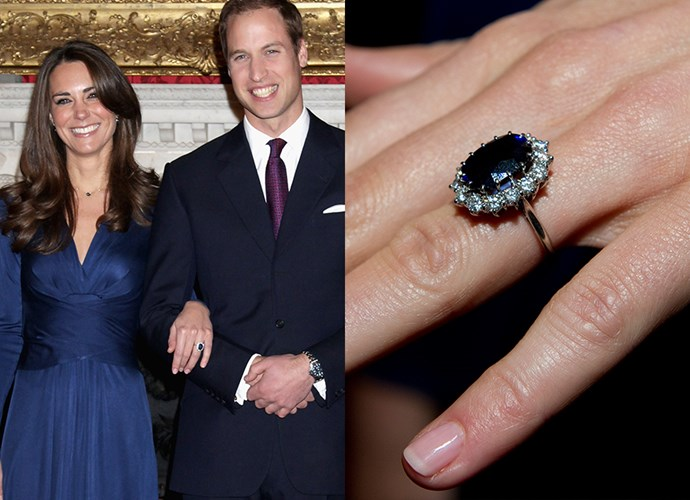 **Miss Catherine Middleton**<br><br> Diana, Princess of Wales', engagement ring—which was given to her sons after her death—was then given to Catherine Middleton, now the Duchess of Cambridge, in 2010.