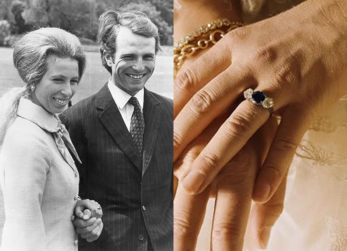 **Princess Anne**<br><br> Upon the occasion of her first marriage to Mark Phillips in 1973, the Princess Royal was given a three-stone sapphire and diamond ring.