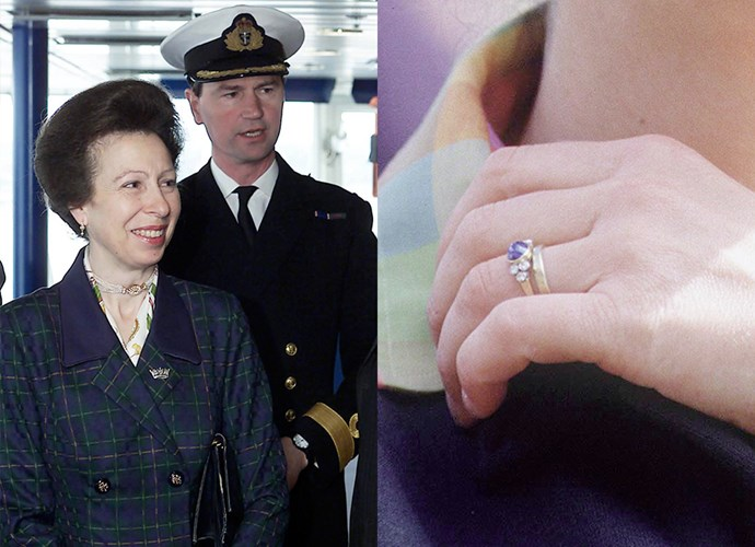 **Princess Anne**<Br><br> For her second marriage to Timothy Laurence in 1986, the Princess Royal received a cabochon sapphire flanked by three small diamonds on each side.