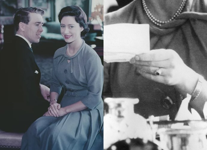 "**Princess Margaret**<br><br> For her marriage to Antony Armstrong-Jones, Princess Margaret (Queen Elizabeth's younger sister) was given a ruby ring, that was described as ""a ruby set like a rosebud with a diamond marguerite""."