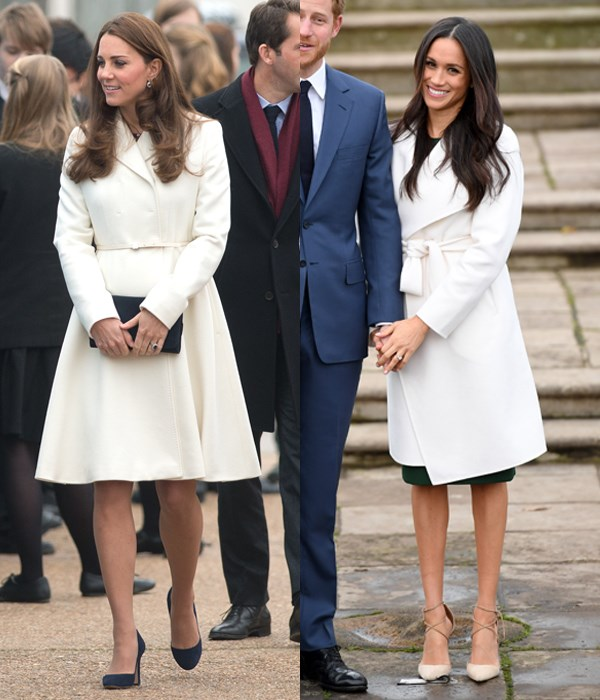 Meghan Markle made her first public appearance following her engagement to Prince Harry wearing a knee-length ivory coat by Line fastened with a matching belt, which resembled a Max Mara look Kate Middleton sported in Portsmouth back in 2015.