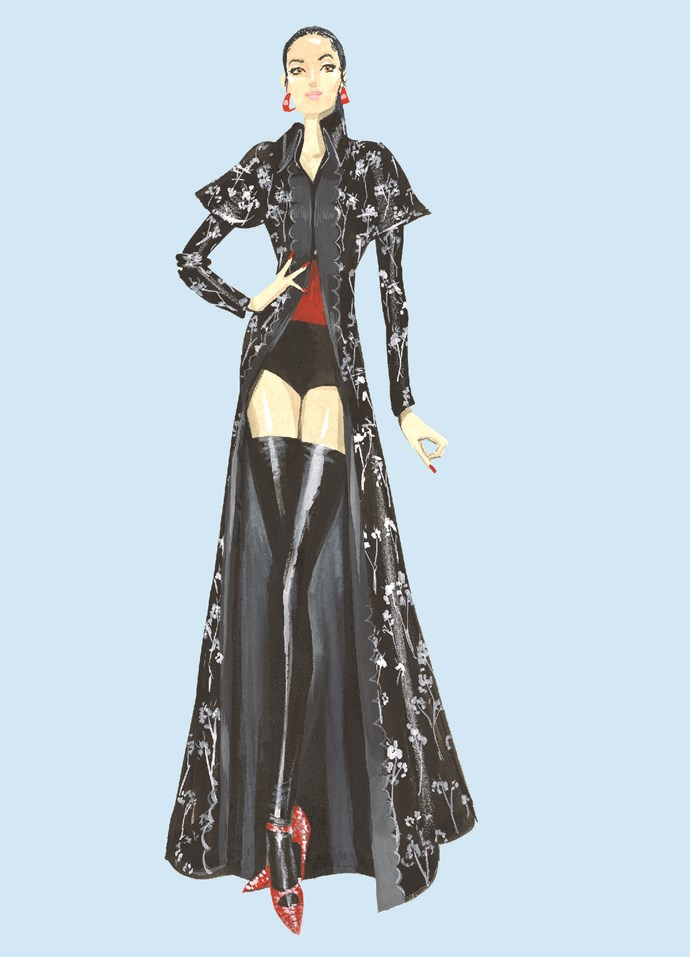 """**GIVENCHY** <br><br> """"This spectacular coat and pair of boots tells the story of my legacy as the current custodian of the collection, and how donors continue to add their treasures and their stories to The Darnell Collection in keeping with a tradition that my godmother [Doris Darnell] began."""""""