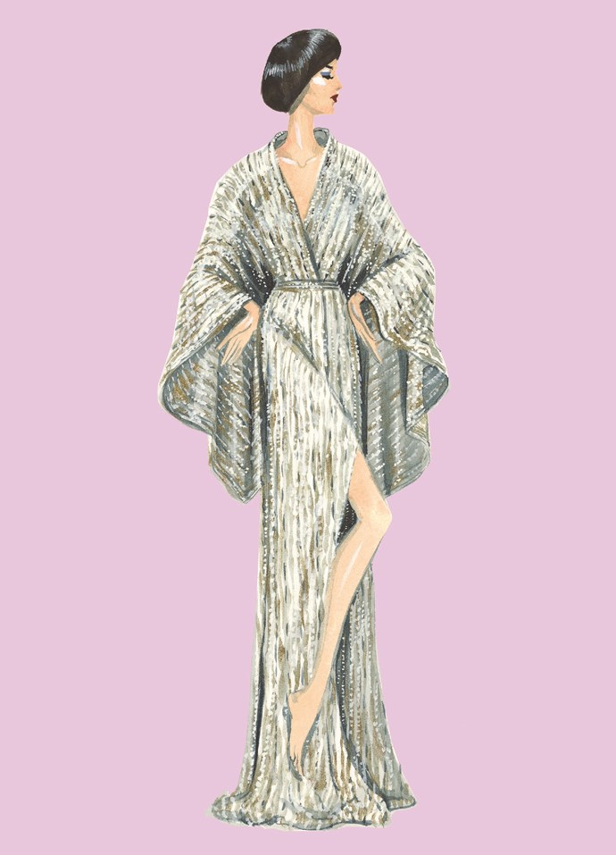 """**DANICA** <br><br> """"I adore this sensational kimono-inspired gown. Made of silk Devore interwoven with gold, bronze and silver metallic threads, it shimmers and reminds me of a waterfall in bright sunlight, an image which is part of Japan's design heritage."""""""