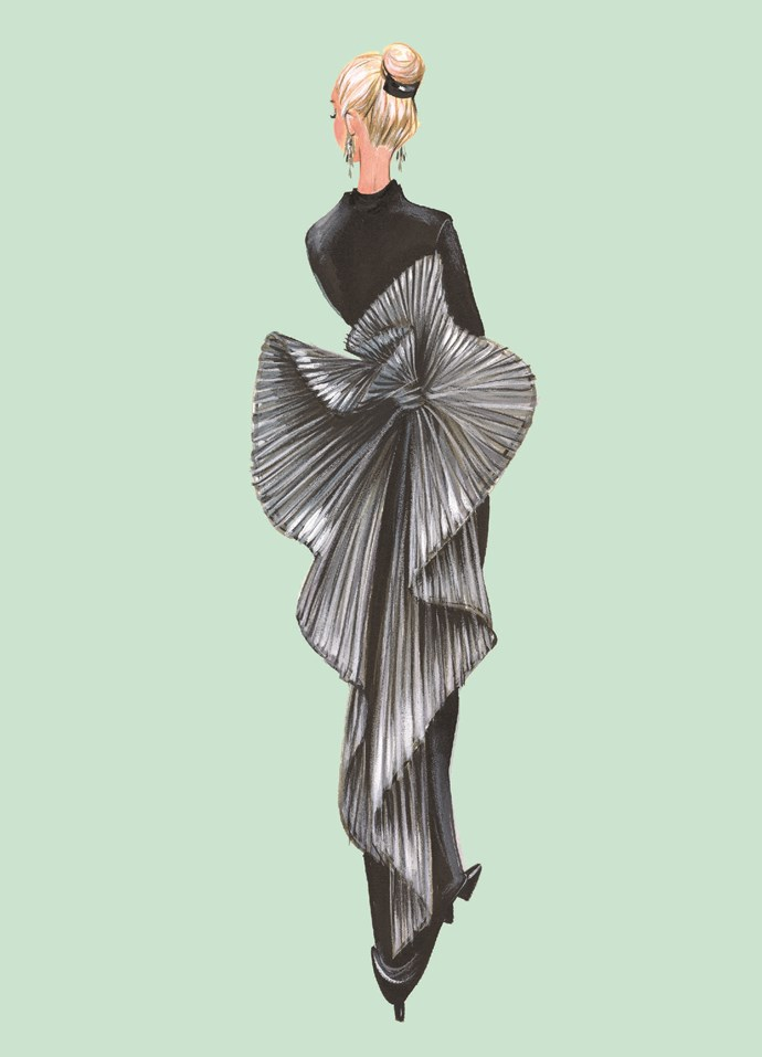 """**BALMAIN** <br><br> """"I see elements of origami in the elaborate fan-like bustle of this exquisite haute couture gown by **Pierre Balmain**. This dress has a mysterious history which I am yet to uncover, which makes it all the more beguiling."""""""