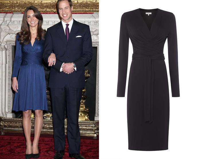 "***Issa's ""Kate"" dress***<br><br> After Miss Catherine Middleton wore this royal blue jersey dress to announce her engagement to Prince William, the brand, Issa, enjoyed an unprecedented moment in the sun. As a thanks, the brand named the dress after her, calling it the 'Kate' dress.<br><br> 'Kate' dress, $198, [Issa at houseoffraser.com](https://www.houseoffraser.com/en-au/women/issa-kate-tie-wrap-dress/d792480.pd#267902558,q=kate%26categories_03
