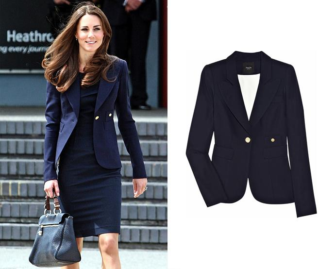 "***Smythe's ""The Duchess"" blazer***<br><br> There is clearly a mutual love between the Duchess and Smythe. Kate has its previously-named 'One Button Blazer' in [two colours](https://www.harpersbazaar.com.au/celebrity/kate-middleton-dresses-in-different-colours-13490