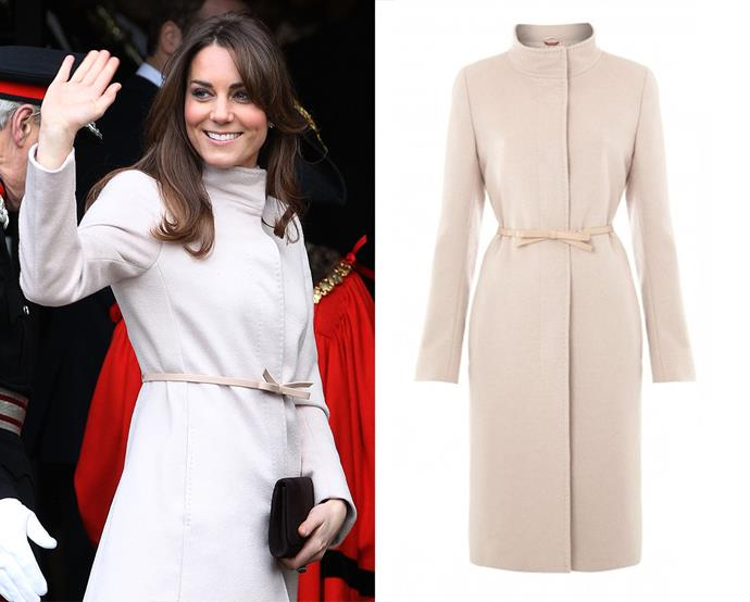 "***Max Mara's ""The Kate"" coat***<br><br> Although she copped a bit of good-natured flak for wearing her bow-belt upside down, Max Mara were so pleased that the Duchess chose their coat for a 2012 outing that they reissued it as ""The Kate.""<bR><br> It is currently no longer for purchase."