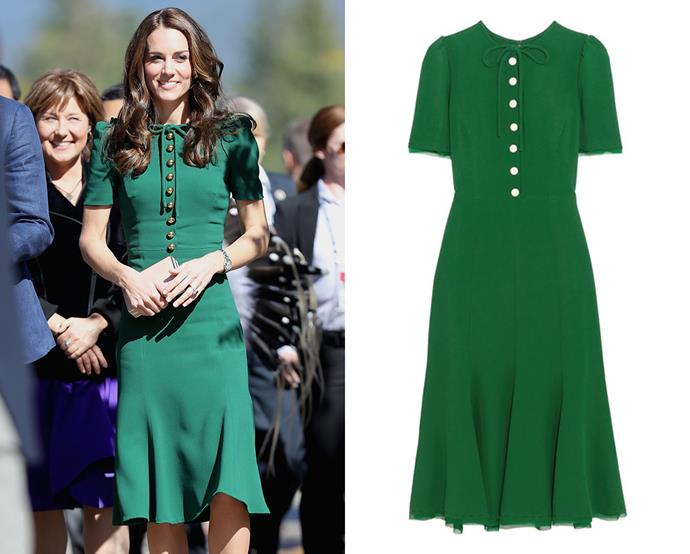 "***Dolce & Gabbana's ""Middleton"" dress***<br><br> During a tour of Canada, Kate wore a bespoke version of the house's silk crepe midi dress in emerald green, which retailed for around $2,675 USD at the time. The dress was renamed the ""Middleton"" afterwards.<bR><br> It is currently no longer for purchase."