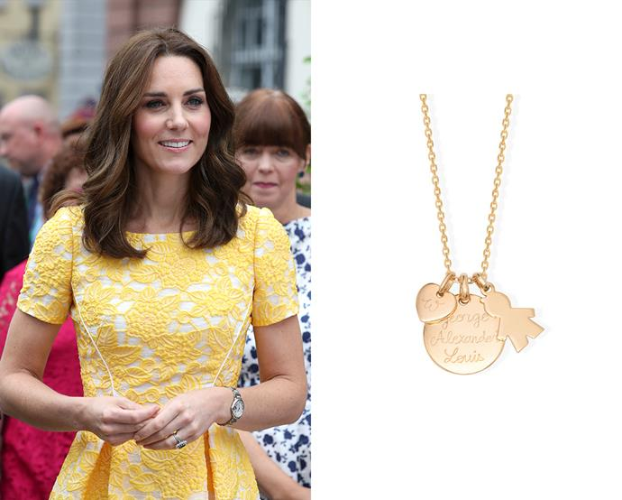 "***Merci Maman's ""The Duchess"" necklace***<br><br> After receiving the necklace with Prince George and Prince William's intials on it from her sister, Pippa Middleton, the brand renamed it 'The Duchess' necklace.<br><br> Necklace, $175, [Merci Maman](http://www.mercimamanboutique.com/her/the-duchess-necklace