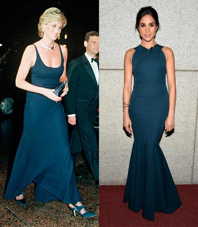 **Floorlength Teal Ballgowns**  Lady Diana arriving at the *Haunted* Premiere on October 26, 1995; Meghan Markle at the Elton John AID's Foundation's 13th Annual Enduring Vision Benefit on October 28, 2014.