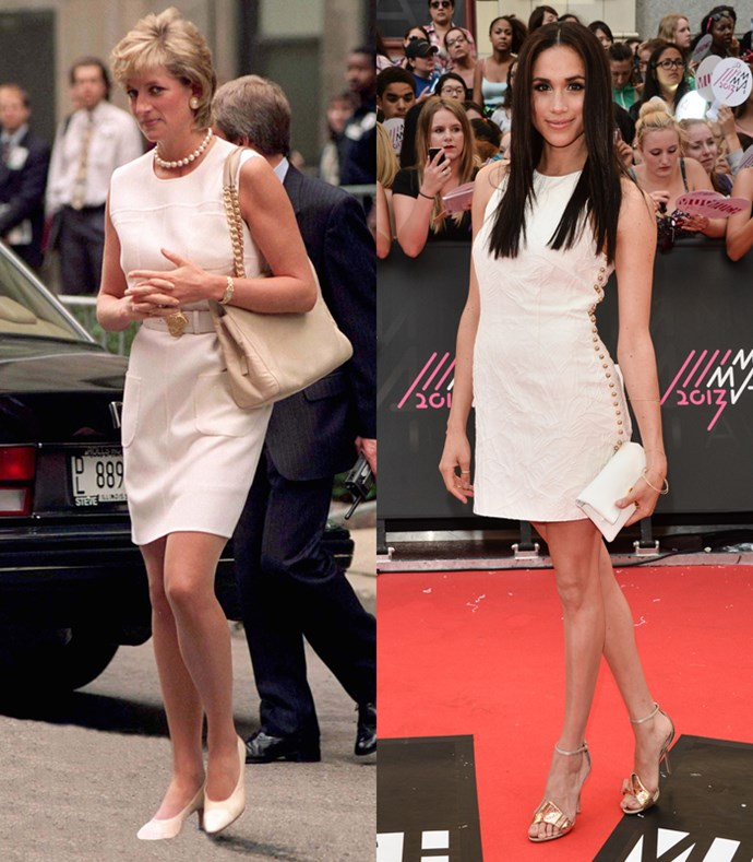 **Sleeveless Cream Slip Dresses**  Lady Diana arriving at The North Western Hospital in Chicago  on June 6, 1996; Meghan Markle at the 2013 Much Music Video Awards on June 16, 2013.