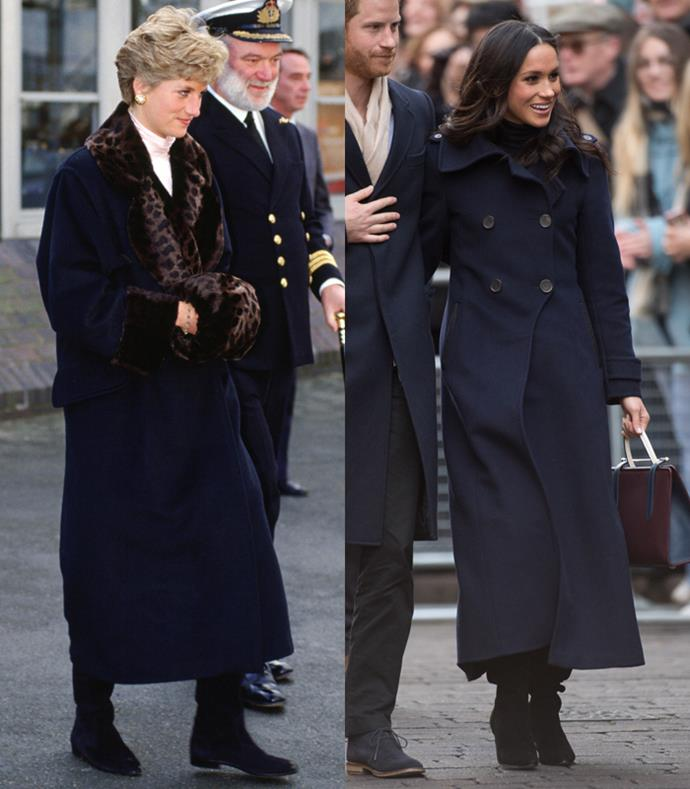 **Calf-Graving Navy Overcoats**  Lady Diana in Devonport to wish departing sailors good luck in the Gulf War; Meghan Markle attending the Terrance Higgins Trust World AIDS Day Charity Fair at Nottingham Contemporary on December 1, 2017.
