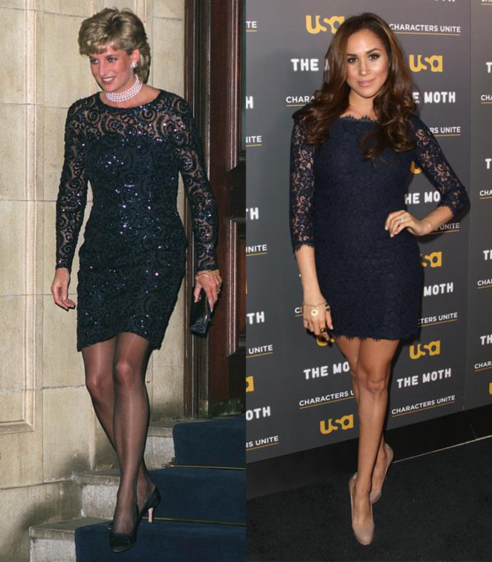 **Semi-Sheer Navy Lace Mini Dresses**  Lady Diana at The Royal Albert Hall for a gala performance of 'La Boheme' on February 1, 1996; Meghan Markle at the USA Network's and The Moth's Storytelling Tour 'A More Perfect Union: Stories of Prejudice and Power' on February 15, 2012.