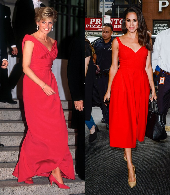 **Flowing V-Neck Gowns**  Lady Diana leaving a gala dinner in Washington DC in October, 1990; Meghan Markle entering *The Today Show* in New York City on July 14, 2016.