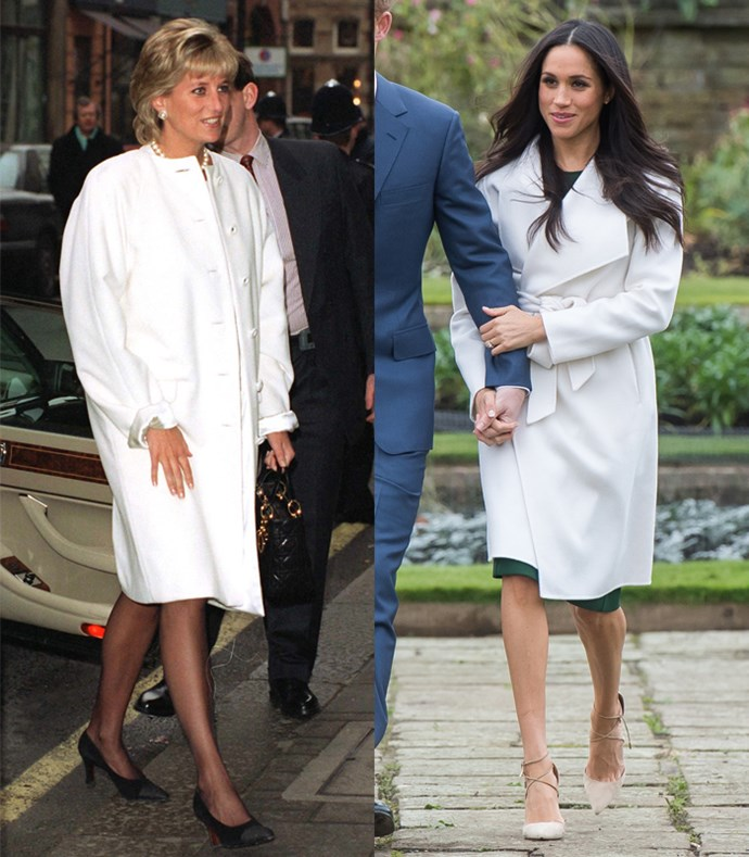 **Matching Ivory Coat Dresses**  Lady Diana arriving for a lunch given by the Association of American Correspondents at Brown's Hotel London on January 29, 1996; Meghan Markle announcing her engagement with Prince Harry at Kensington Palace on November 27, 2017.