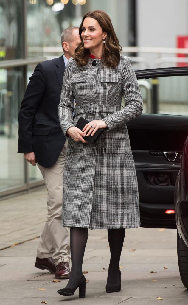 December 6, 2017 - In an LK Bennett Coat, when Kate is pregnant with her third child.