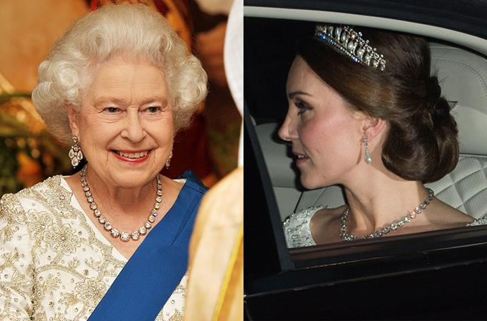 **Queen Elizabeth's Collet Necklace**<br><br> For her most recent appearance at a diplomatic reception, the Duchess of Cambridge wore one of the Queen's collet/rivière necklaces. Queen Elizabeth supposedly has eight in her collection, which she inherited from her grandmother, Queen Mary of Teck.