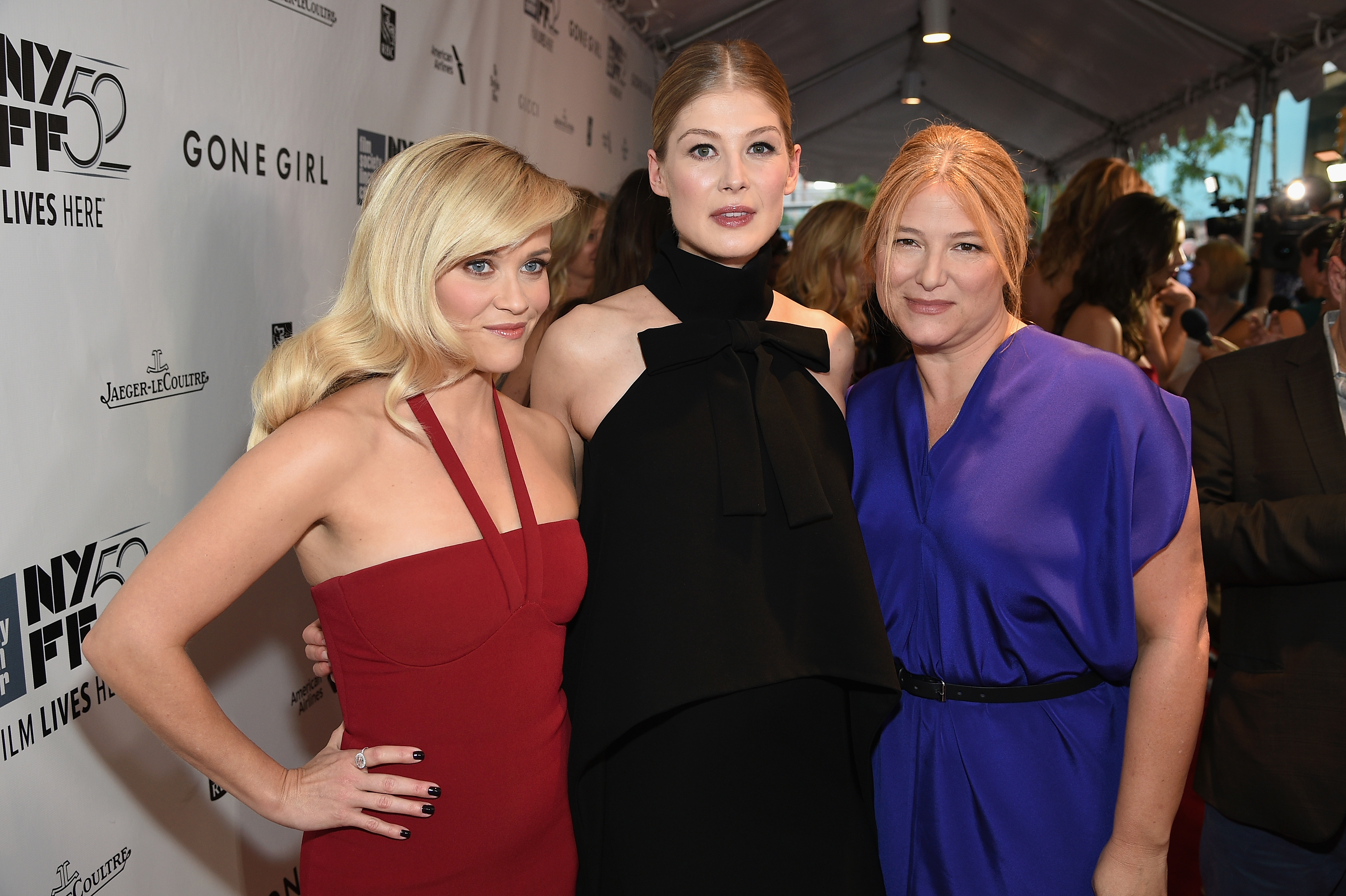 Actresses Reese Witherspoon and Rosamund Pike at the premiere of *Gone Girl