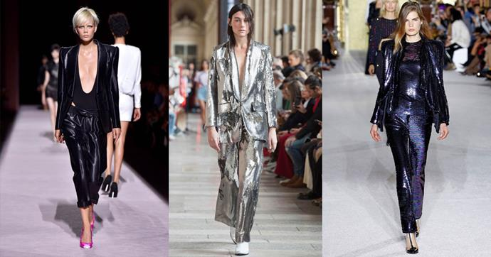 **THE GLAM SUIT** <br><BR> Perfect for: The Office Christmas Party <br><br> *Tom Ford SS18, Each X Other SS18, Balmain SS18*