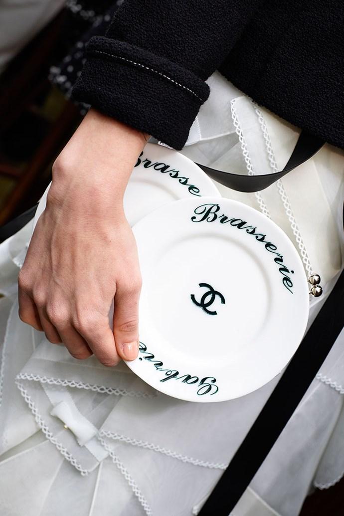 **Chanel autumn winter '15/16** <br><br> Brasserie Gabrielle Plexiglass Plates Minaudiere Bag.