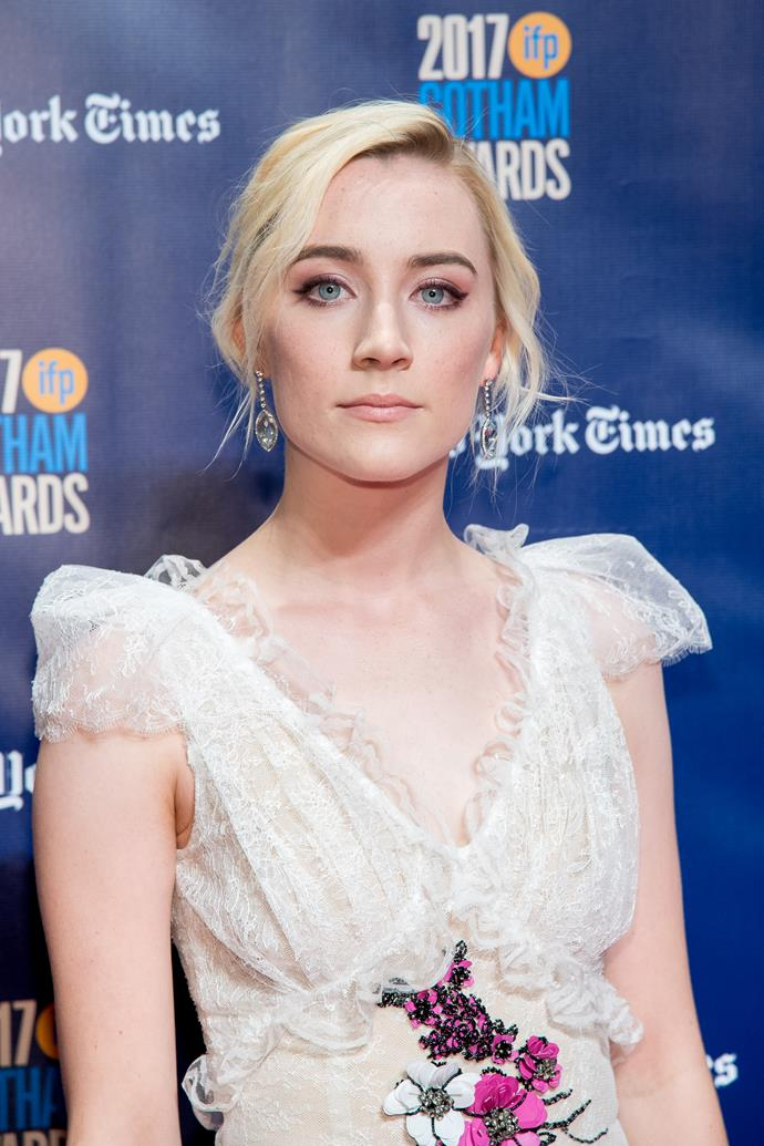 **Saoirse Ronan for *Lady Bird*** The Irish native, who first wowed us in *Atonement* and then stole our hearts in *Brooklyn*, is getting Oscar buzz after starring as the lead in *Lady Bird*, directed by new-to-the-Hollywood-directing-scene, Greta Gerwig.