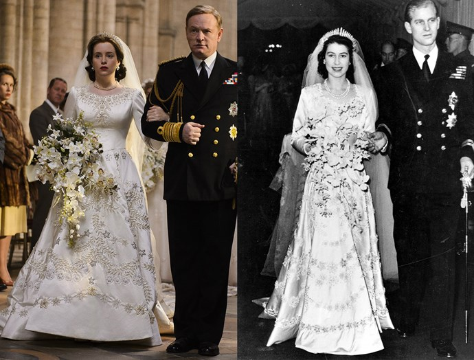 ***Queen Elizabeth's Wedding Dress***<br><br> *The Crown* did a pretty spot-on job recreating the then-Princess Elizabeth's iconic wedding gown. The Norman Hartnell dress was made from Damascus Prokar and was paired with the Queen Anne and Queen Caroline pearl necklaces, and Queen Mary's Fringe Tiara (which some royal loyalists complained wasn't tall enough).