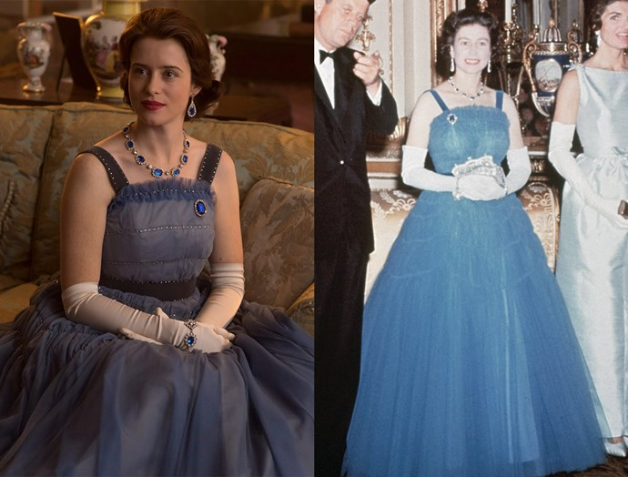 ***Queen Elizabeth's Presidential Meeting Dress***<br><br> In the second seaon of *The Crown*, we'll see Queen Elizabeth and Prince Philip meet with John F. Kennedy and Jackie Kennedy, wearing this blue ball gown. The replica is almost perfect, except for the addition of tiny rhinestones to the television-version.