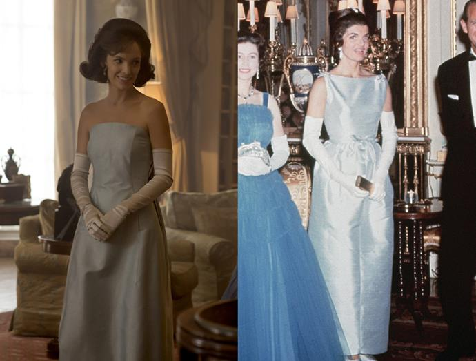 ***Jackie Kennedy's Presidential Meeting Dress***<br><br> The First Lady's dress was changed quite a bit. The show chose to forgo the bateau-style neck in favour of a strapless version. They also got rid of the waist-cinching bow.