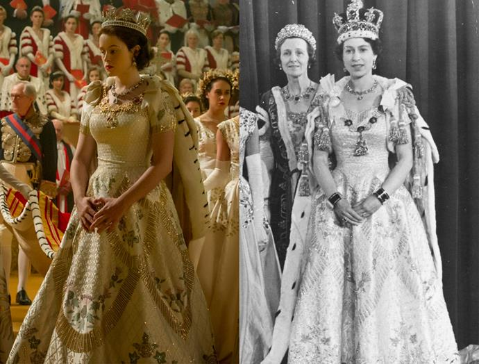 ***The Queen's Coronation Gown***<br><br> After the actual coronation, to which the Queen wore a simple white dress, the newly-coronated Queen changed into this gown by Norman Hartnell. The white duchess satin dress had embroidery representing the major nations of the commonwealth, including the Tudor rose of England, the Scots thistle, the Welsh leek, the shamrock for Northern Ireland, the wattle of Australia, the maple leaf of Canada, and the New Zealand silver fern. The television version had Claire Foy wear the George IV State Diadem, instead of the St Edward's Crown.