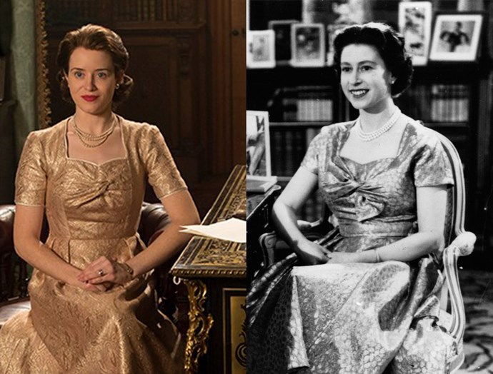 ***The Queen's Television Taping Dress***<br><br> To film a Christmas message for the BBC, the Queen wore a gold lame dress with twist detail, which was recreated excellently in the show.