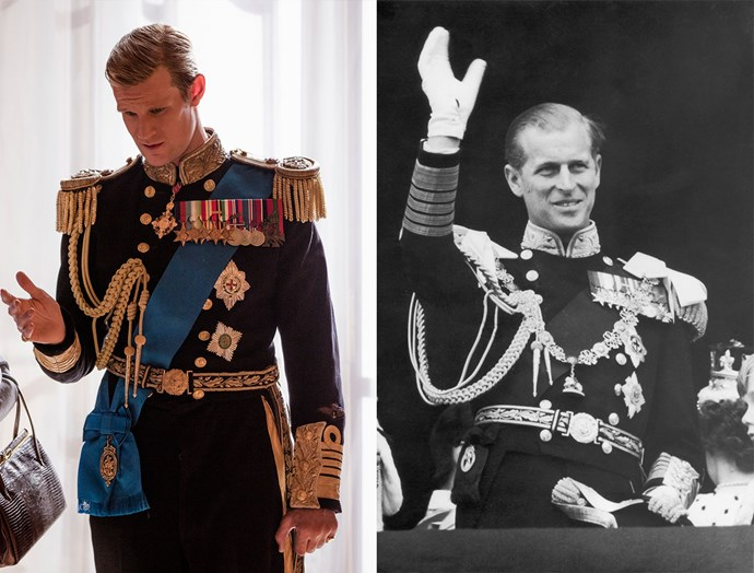 ***Prince Philip's Ceremonial Uniform***<br><br> *The Crown* also painstakingly made a replica uniform of Prince Philip's ceremonial one, which mirrored every badge, sash and pin. However, the show has Matt Smith's Prince Philip wearing his aiguillette (the gold braid) on his chest, rather than looped around his arm.