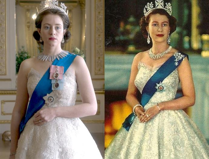 ***The Queen's Portrait Dress***<br><br> Another minute-perfect recreation. The only tiny misstep here is that *The Crown* seem to have added the Royal Family Orders of King George V (blue) and King George VI (pink).