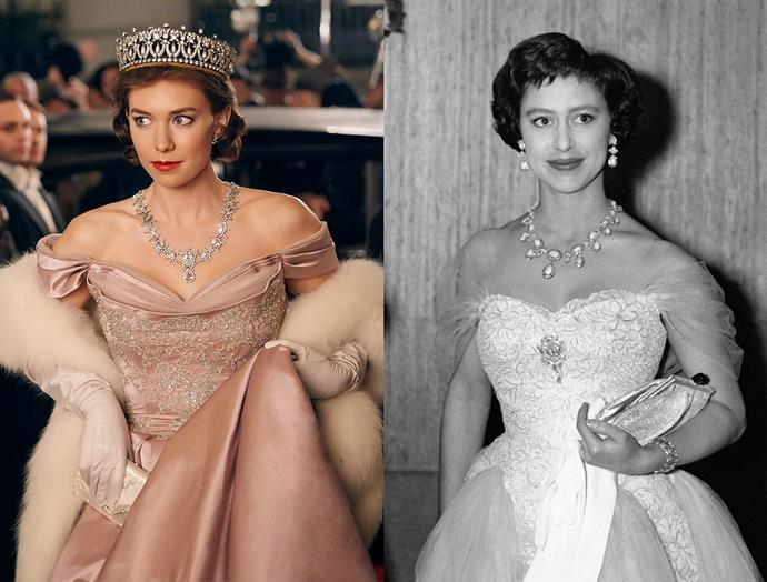 ***Princess Margaret's Opera Dress***<br><br> Although Princess Margaret probably didn't wear tiaras and crowns quite so often in real life as she does in the show, this dress is a great nod to the one she wore to the premiere of *The Key.*