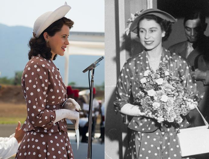 ***Princess Elizabeth's Brown Spotted Suit***<br><br> For her tour of Kenya after her wedding, Princess Elizabeth wore this polka-dot suit with a white hat, which the show mirrored charmingly.
