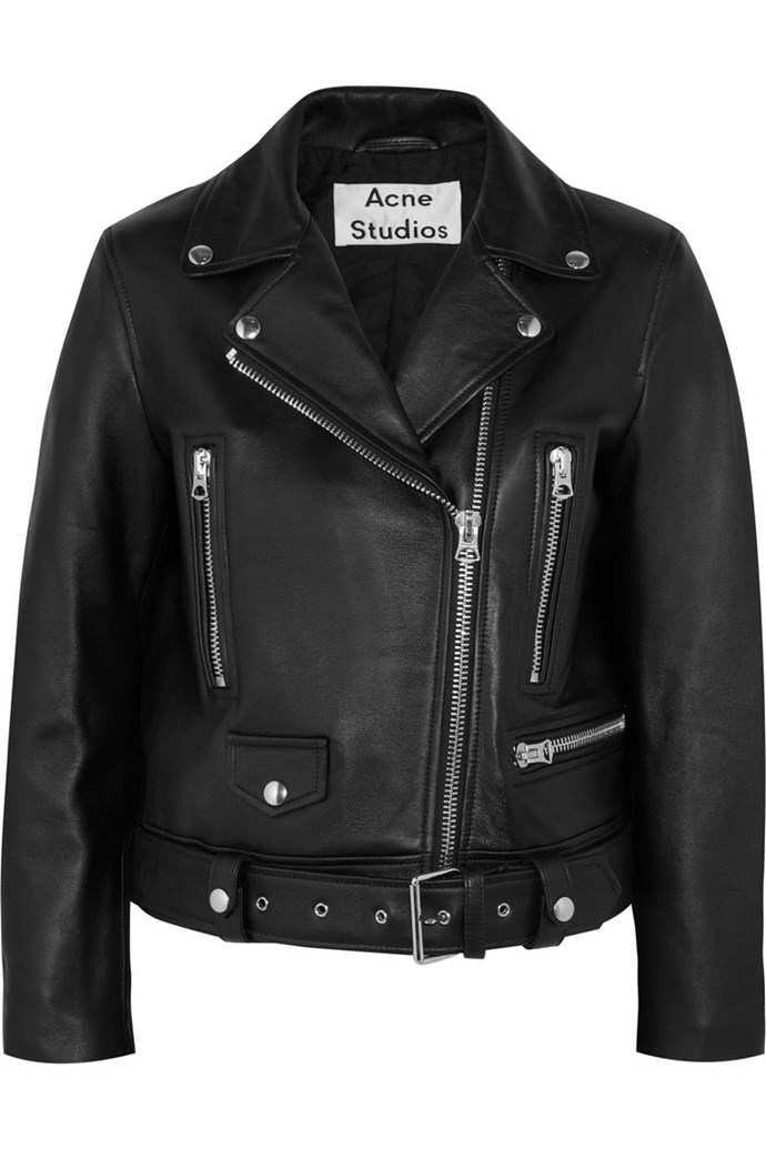 "**Acne Leather Moto Jacket**  Jacket, $2,200, Acne at [Net-A-Porter](https://www.net-a-porter.com/au/en/product/911556|target=""_blank"")"