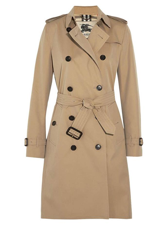 "**Burberry Kensington Trench Coat**  Trench, $1,995, Burberry at [Net-A-Porter](https://www.net-a-porter.com/us/en/product/514640|target=""_blank"")"