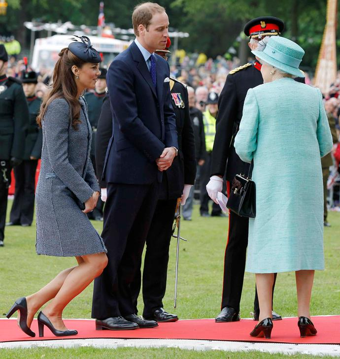 ***ONE MUST ALWAYS CURTSY TO SOMEONE OF A HIGHER RANK***<br><br> There's a reason there's a line of succession. Royal ladies must always curtsy to anyone of a higher rank, which is why Duchess Catherine curtsies to Duchess Camilla and the Queen, and why Meghan Markle will curtsy to Duchess Catherine, after her wedding.