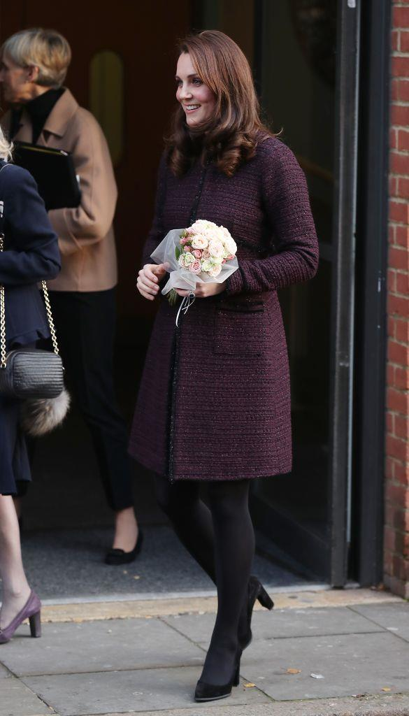 December 12, 2017 - In a Seraphine Coat, when Kate is pregnant with her third child.