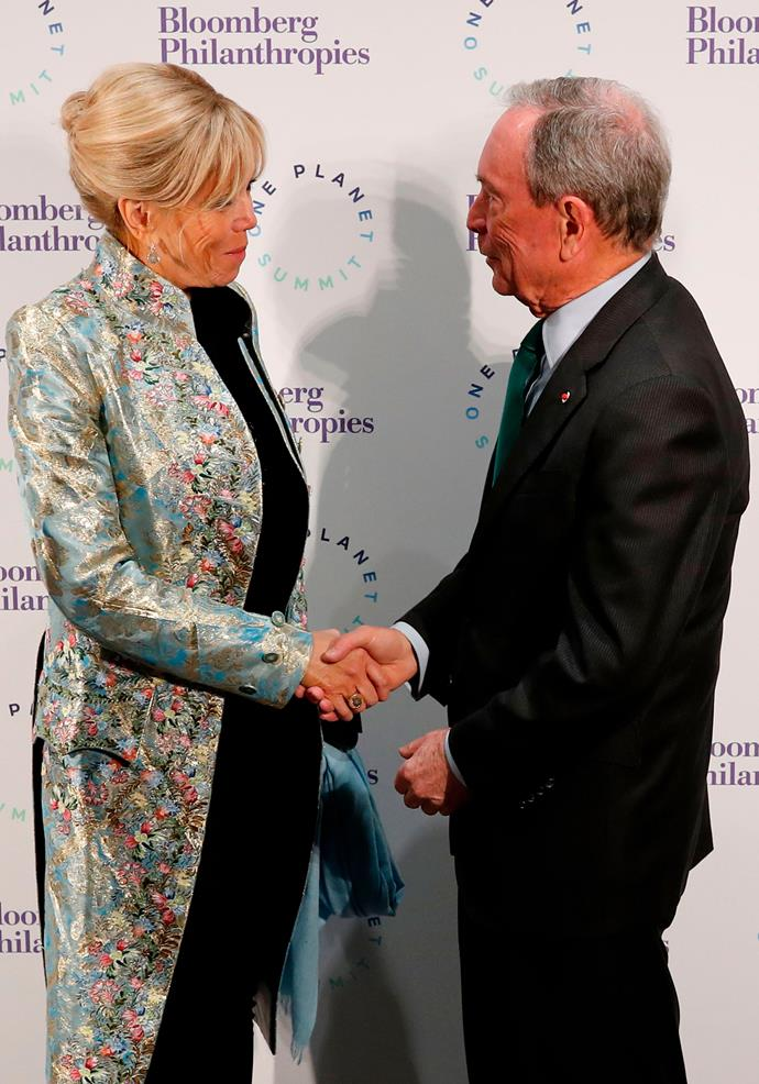 Brigitte in an embellished Louis Vuitton jacquard jacket at the One Planet Summit in Paris.