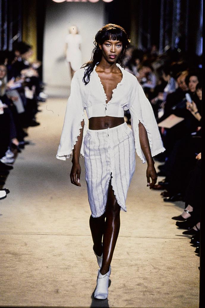"**CHLOÉ SPRING SUMMER 1998** <br><br> This show was Stella McCartney's first for the French fashion house. The designer made headlines for hiring her supermodel friends Kate Moss and Naomi Campbell, and for having her musician father, Sir Paul McCartney, in the front row. <br><br> This come just three years after she hired the two supermodels for her Central St Martins degree show, a move she now regrets. ""I look back on that moment and just feel a bit embarrassed that I was so naïve,"" McCartney said in an interview with the *BBC*."