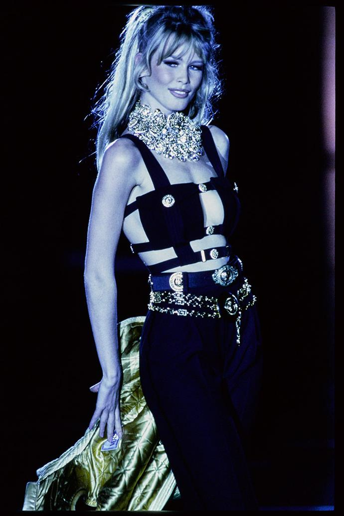 "**VERSACE AUTUMN WINTER 1992** <br><br> Gianni Versace's autumn winter 1992 collection was provocatively titled 'Miss S&M' and saw some outrage from critics. ""I don't want women to be sex objects or any of that,"" Suzy Menkes said post show. The runway was where Versace's fantasies came to life, and fetishistic elements were worked into glamorous clothing. His looks were high maintenance and models often required many helping hands to get dressed."
